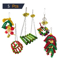 Pet Christmas 5 Packs Bird Swing Chewing Hanging Perches Toys Bird Parrot Cage Bite Toys