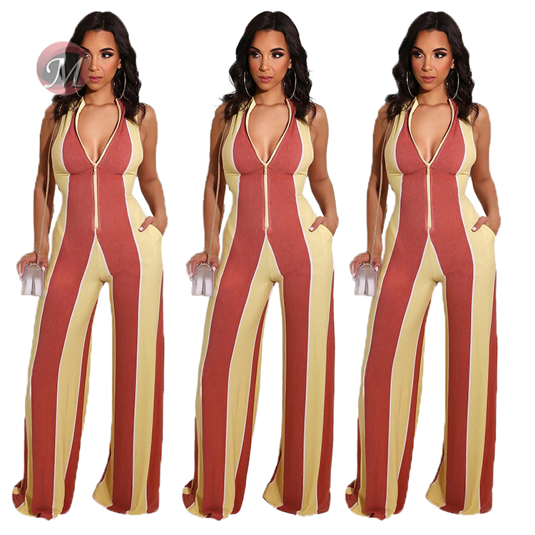 0042007 Hot Onsale Women Clothes Sleeveless Striped Zipper Contract Color New Sexy Long One Piece Romper Ladies Casual Jumpsuit