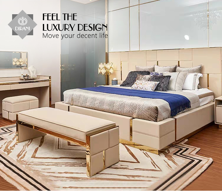 Luxury Modern Bedroom Leather Upholstered Ottoman Bench Bed End Stool Leather Metal Covered Ottoman Bed Bench View Modern White Leather Bench Dirani Product Details From Foshan Dirani Design Furniture Co Limited On