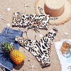 Custom Logo Printed Fashion Latest Leopard Ladies Sexy Swimwear Bikinis Woman