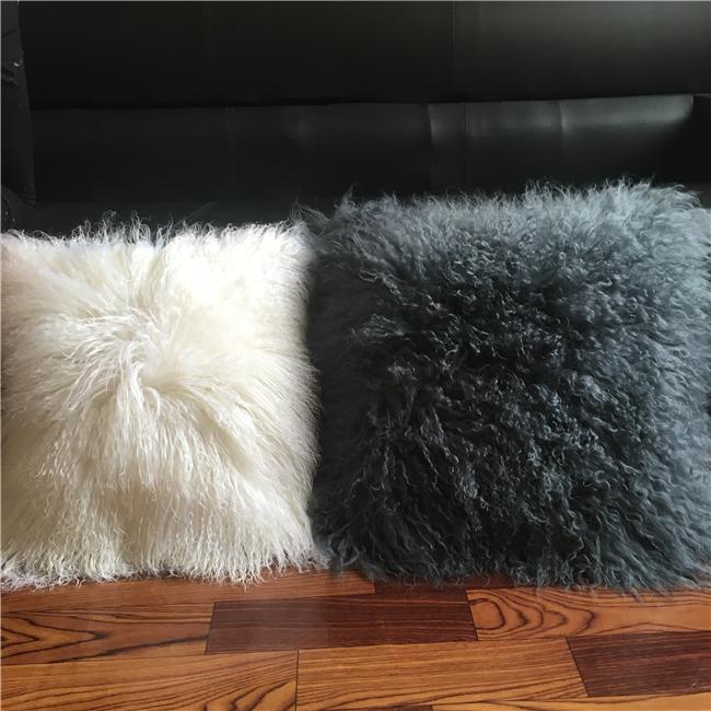100% Real Mongolian lamb fur pillow