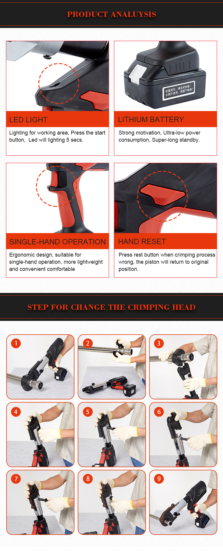Chinese online sales site 1550  hydraulic cordless battery pipe crimping tool hose crimper for sale
