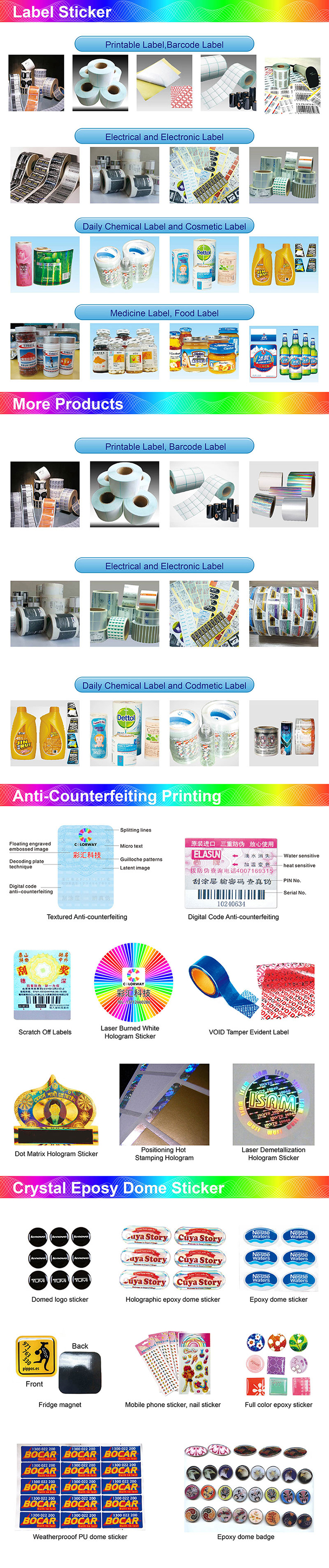 free design custom rainbow holographic foil essential oil/perfume/cosmetics roll sheet 10ml 15ml bottle sticker