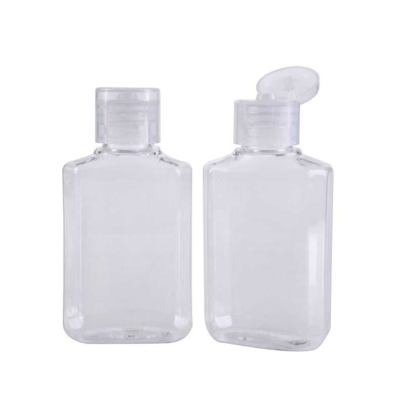empty portable 20ml 60ml clear hand sanitizer squeeze plastic bottle with flip top cap