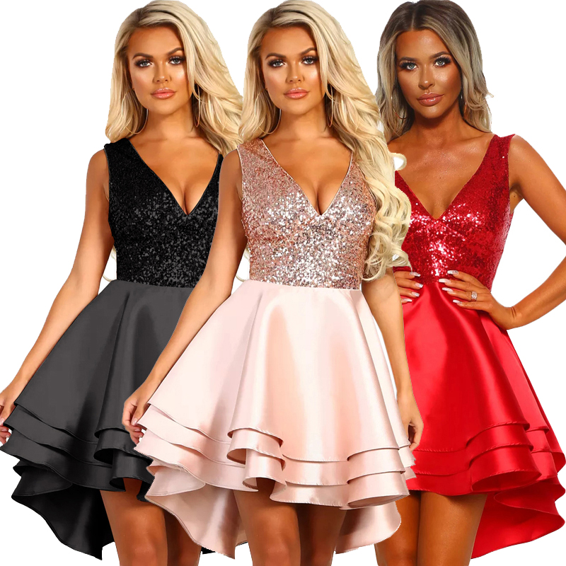 New Style Women Sexy Heart Broken Pink Gold Skater Multi Layer Sequin <strong>Dress</strong>
