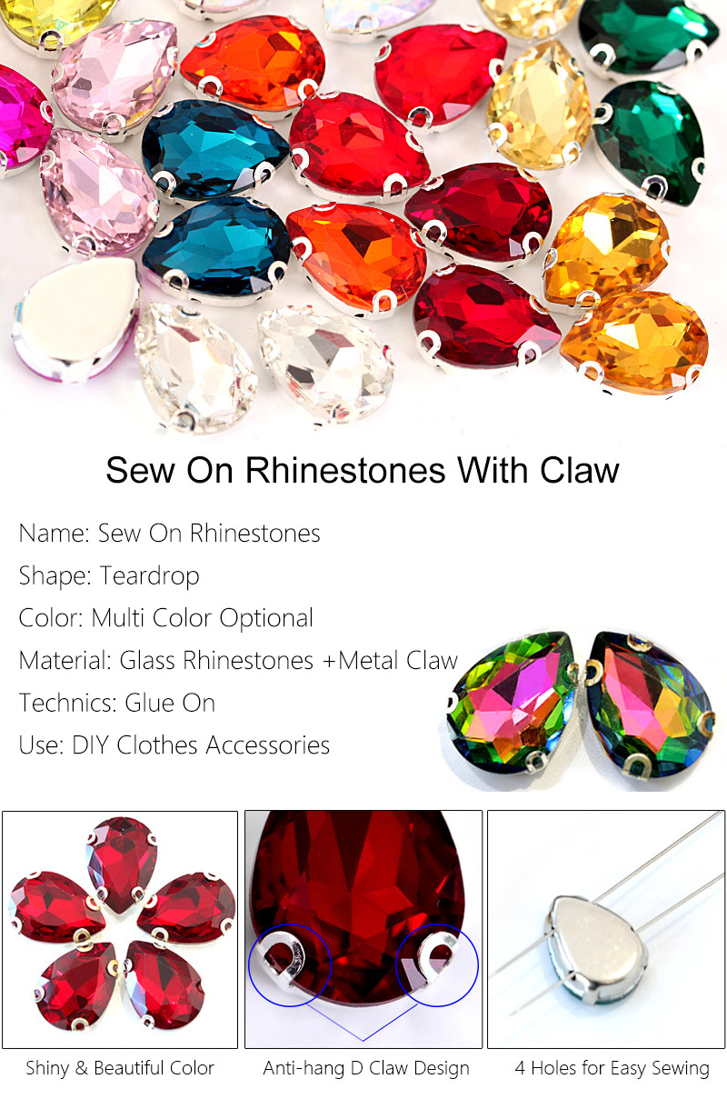 High Quality Blinginbox Brand Teardrop Shape Various Opal Color Glass Sew On Claw Rhinestones For Garment Accessories