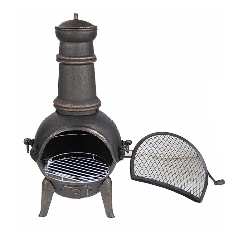आउटडोर फ्रीस्टैंडिंग खाना पकाने कच्चा लोहा chiminea, चिमनी चिमनी