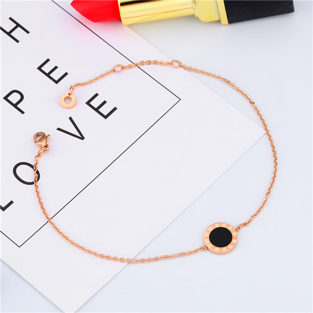 Free Shipping And Free Sample Roman Numerals Round Black Pendant 316L Stainless Steel 18K Gold Plated Anklet