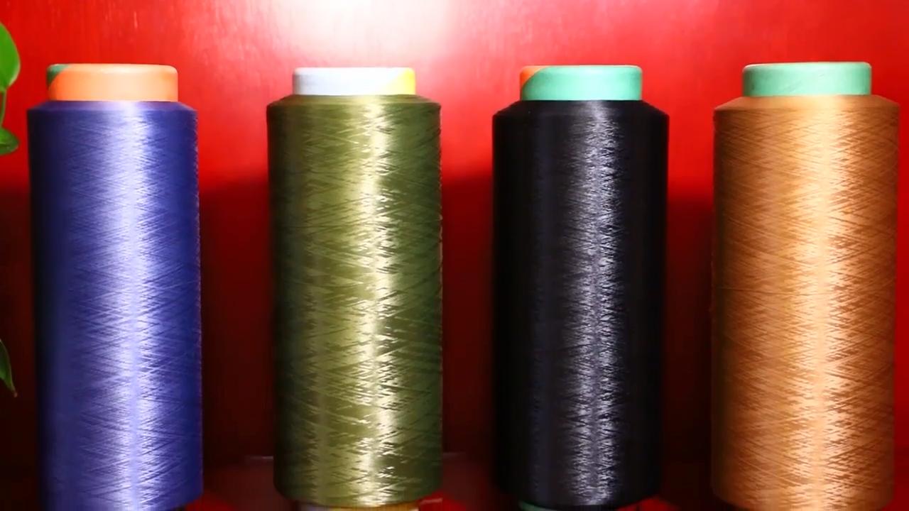 Hot koop chinese gerecycled gesponnen bulk markt prijs 150d polyester garen