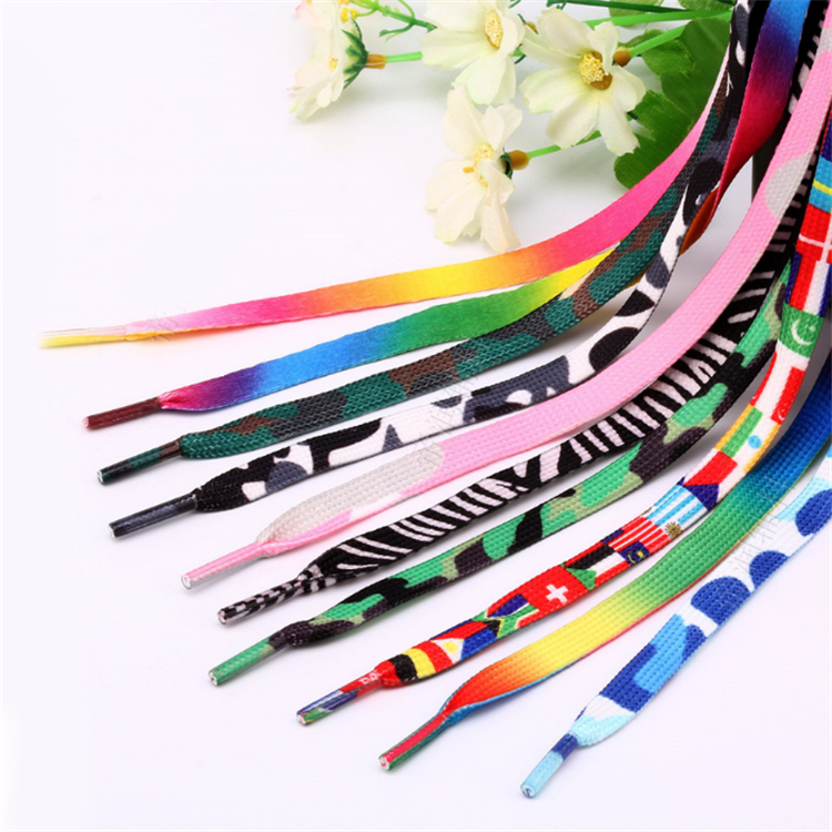 Hot Sale Custom  logo Shoe Laces printed shoelaces Flat rainbow shoelaces Polyester cotton shoelaces
