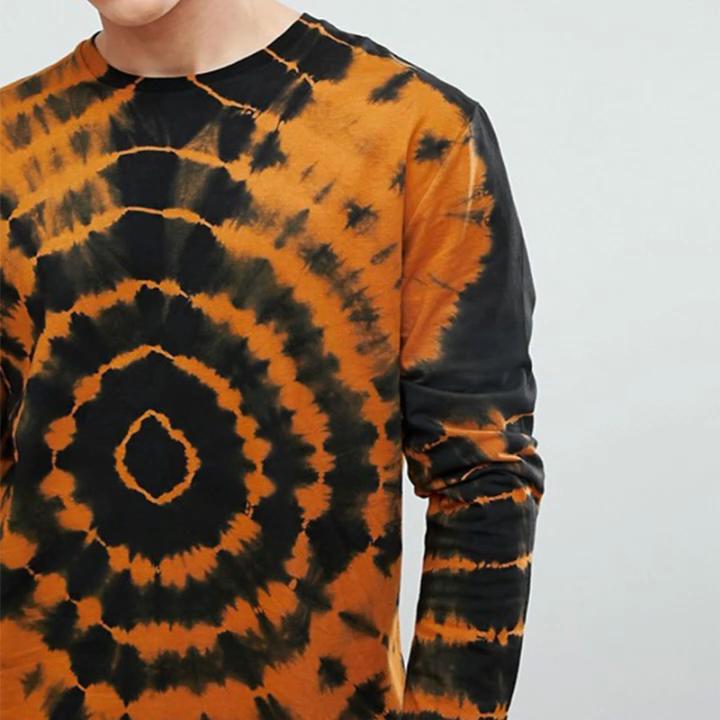 Gebogene rand hohe qualität t shirt organische baumwolle tie dye langarm t shirt männer