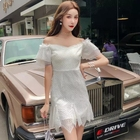 White deep V dress stitching designs Irregular hem sexy lace dress