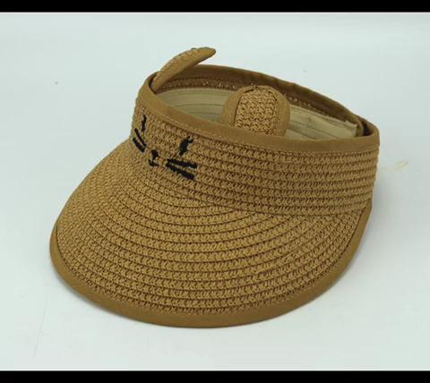Çocuklar Mini moda yürümeye başlayan ayçiçeği ve güneşlik taşıyıcı kağıt saman siperlikli şapka