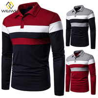 Vertical Striped Shirts Design Casual Fine Long Sleeve Polo Shirt
