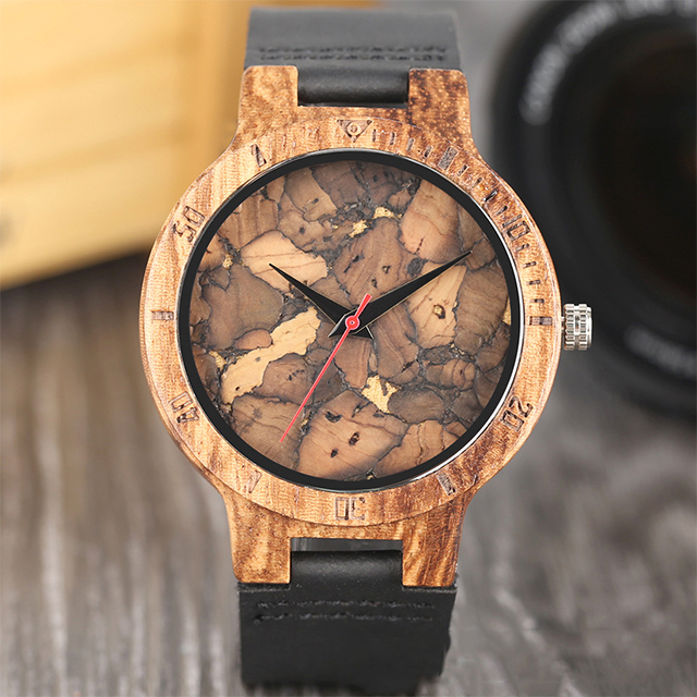 Fashionable leisure zebra wood male table broken leaf wood literally waterproof watch wooden watch
