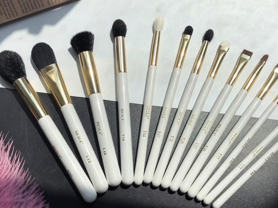 BEILI 29 шт. набор кистей для макияжа от производителя, высокое качество, белый натуральный козья шерсть, пудра, кисти для макияжа с индивидуальным лейблом, инструменты для макияжа