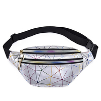 PU Leather Holographic Women Pink Silver Fanny Pack Female Belt Bag Black Geometric Waist Bags Laser Chest Phone Pouch