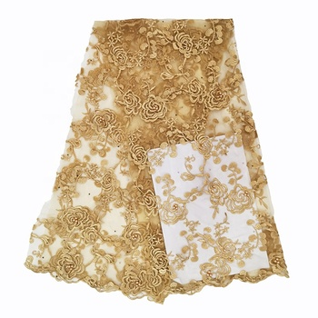 2019 latest cheap gold african lace fabric with pearls