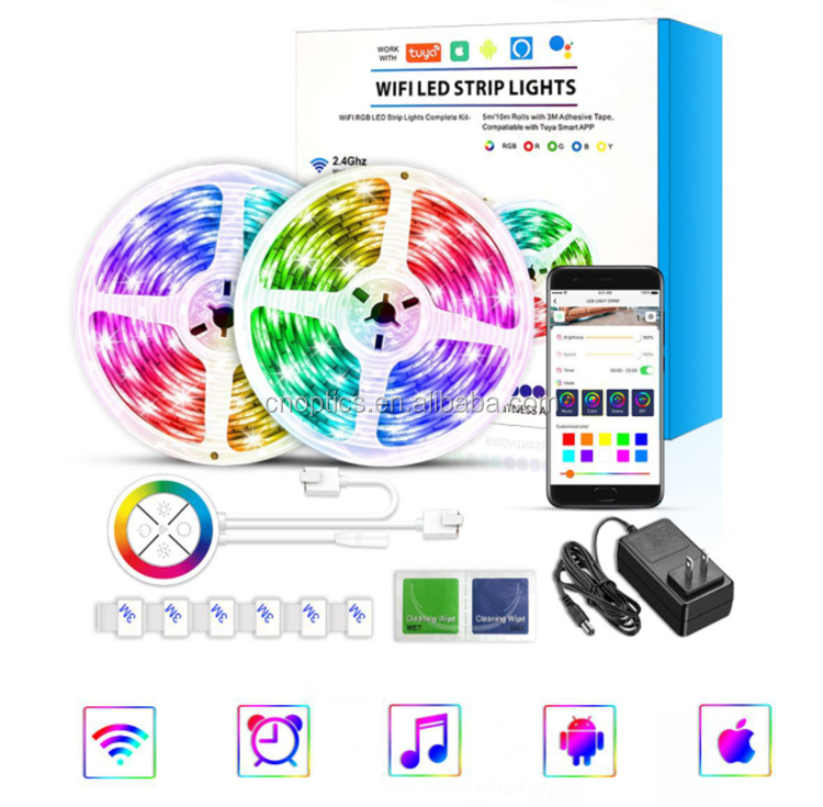 DC 12V WIFI Color Strip Lights Dancing with Music 30LEDs/meter 60LEDs/m SMD 5050 RGB Waterproof Bluetooth light Belt Set/Kit