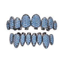 Хип-хоп ЗУБЫ Grillz Iced Out AAA циркон сверху и снизу зуб набор 8 цветов мужские неправильные зуб Grillz ювелирные изделия(Китай)