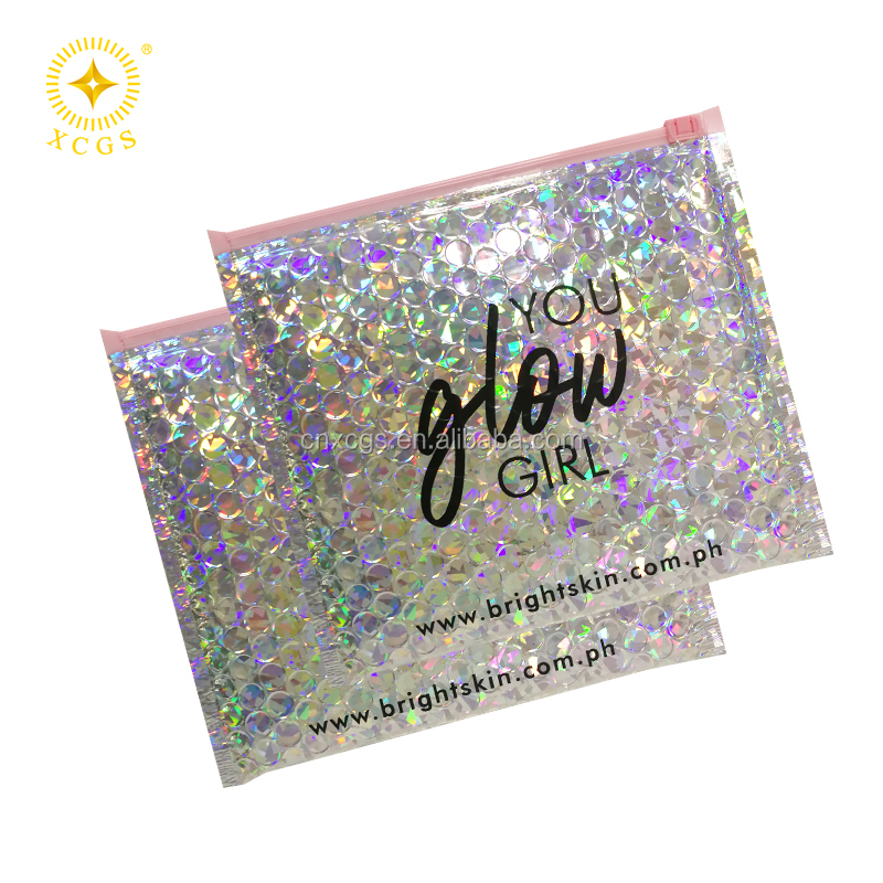 Wholesale Hologram Glitter Custom Padded bubble colored mailing bags With Pink Pull For Cosmetics