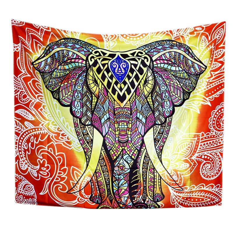 Kustom Baru Gantung Datar Lembar Colorful Gajah Mandala Permadani Dinding