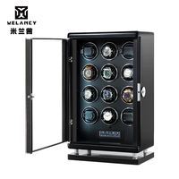 Black Carbon Fiber Leather/Paint Watch Winder Motor Square Self-winding Automatic Watches Rotating Box Mechanical