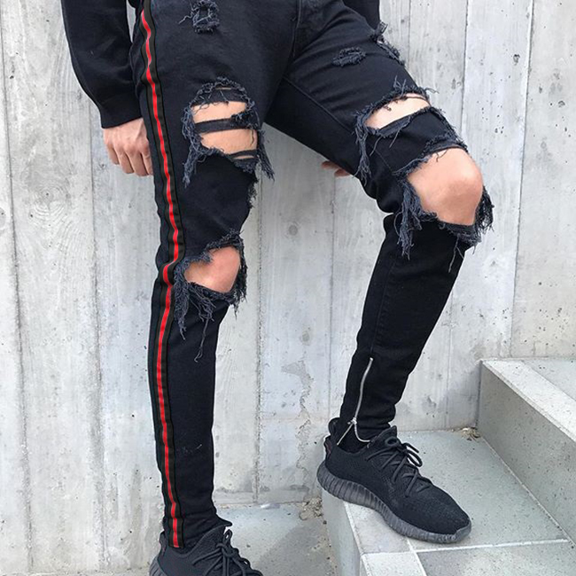 new style OEM wholesale china damaged track skinny denim men's pants ripped jeans 032