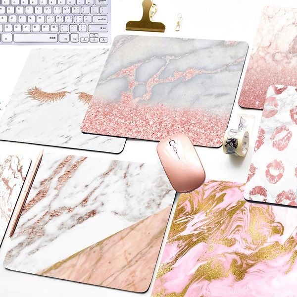 Cool Rose Gold Marmo Tastiera Scrivania Stuoia Durevole Desktop Mousepad Natura Softy Gomma Tappetino Mouse Da Gioco Professionale