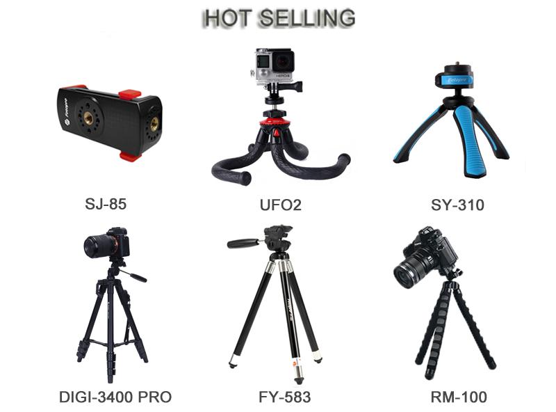 Fotopro 産業調整可能アルミ黒旅行 48 インチ selfie スティック三脚電話のカメラマウント