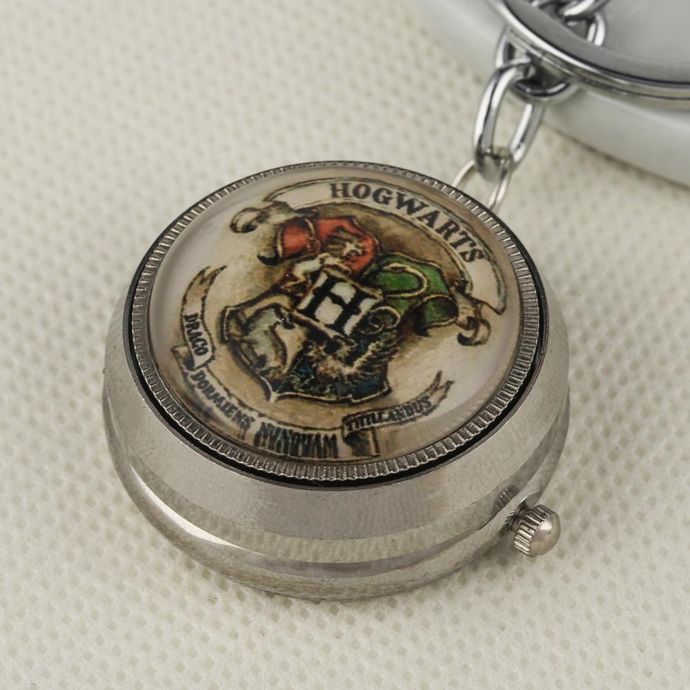Wholesale Harry Potter Theme Key Chain Silver Turntable Pocket Watch