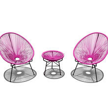 Acapulco rose-karmin <span class=keywords><strong>farbige</strong></span> wicker woven modish lounge möbel 2PC bar stühle und tisch set