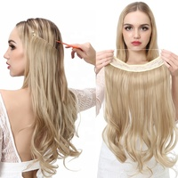 SARLA 2020 Hairpieces Colored Dropshipping Cheap Ombre Synthetic Halo Hair Extension For White Women Wholesale Factory No Clip