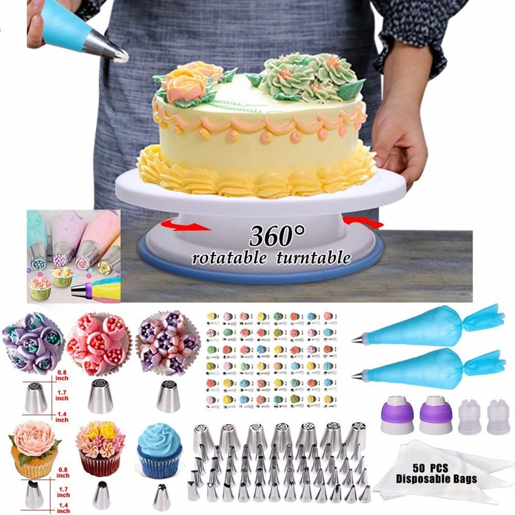 Free Shipping 1set To Guangzhou Agent Baking Tool 282pc Turntable Nozzles Piping Tip Fondant Accessories Cake Decorating Kit Set