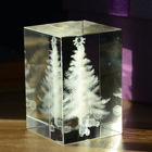 3D Laser engraved Christmas Tree Photo Crystal Cube Crystal Block