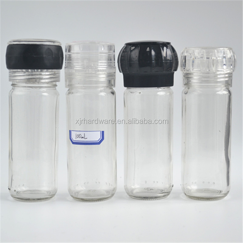 100 ml glas peper fles/spice mill/plastic spice grinder