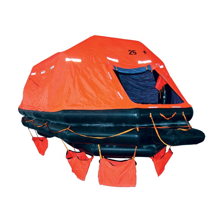 Marine SOLAS Approved KHZ type 65 person Throw Over board Self Righting Inflatable Life Raft