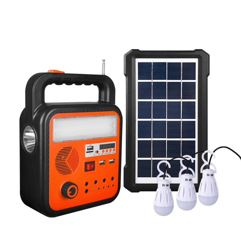 10W portable solar mp3 mini home system led lighting energy saving small system with radio and phone charge