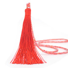 Hot selling crystal chain tassel pendant necklace bohemian fashion beaded long chain handmade statement necklace