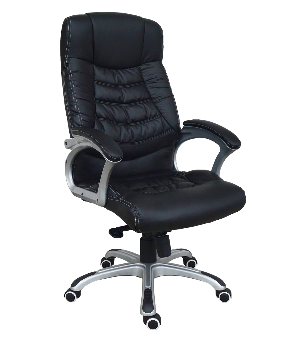 Moderne Hoge Rug Geribbelde PU Leather Swivel Executive Zwart Office Bureaustoel met computer Gaming Stoel