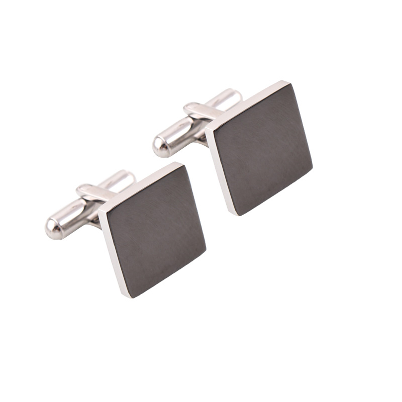 Customized 316 Stainless Steel Square Black Color <strong>Custom</strong> Blank <strong>Cufflink</strong> men