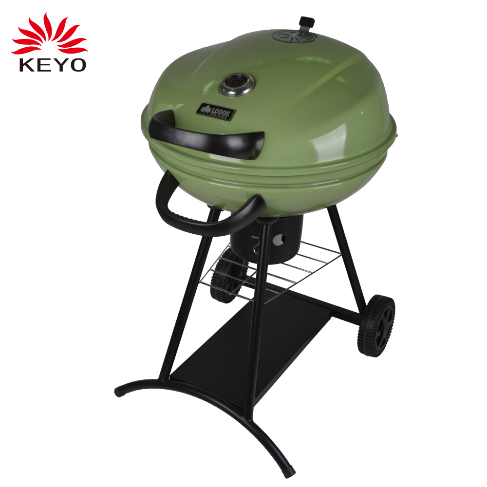 Hot Selling Outdoor Camping Portable Green Two Wheels Charcoal Grill Kettle BBQ Grill