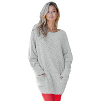 winter new women knitted solid color round neck pullover long sleeves long plush cashmere sweater with pockets