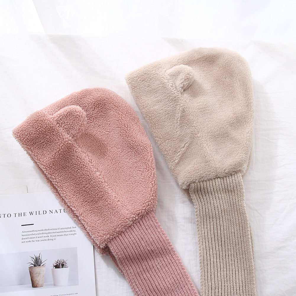 2019 autumn and winter new style even hat scarf one soft sister cute earmuffs scarf set winter warm