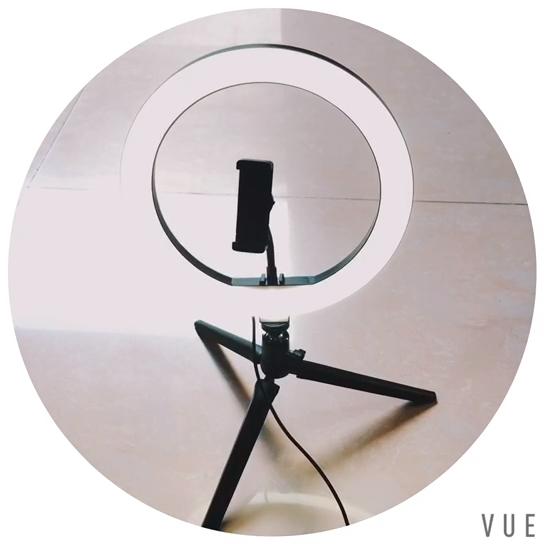10 inç LED halka ışık Tripod standı cep telefonu tutucu için canlı akış/makyaj/YouTube Video, kısılabilir güzellik halka ışık