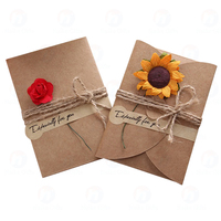 Hot Sell handmade Brown Kraft Paper folding gift cards Natural Dried Flowers greeting Thank You Card