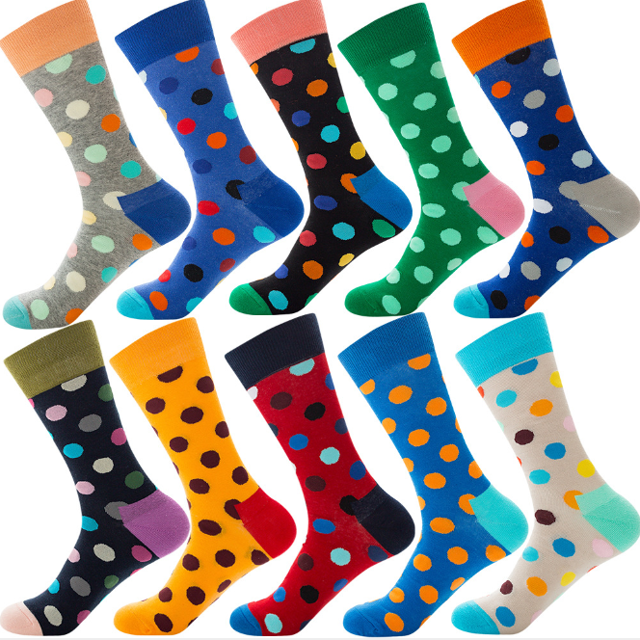 Wholesale Full Custom Cotton Men Colorful Funny Happy Socks In Bulk