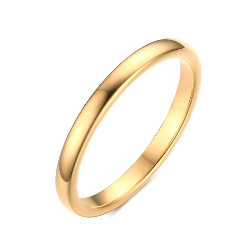 2020 nova Coreano Estilo Compacto e Simples Das Senhoras Brilhante Jóias Anéis Trendy 2 mm Aço de Tungstênio Faixas De Casamento para As Mulheres