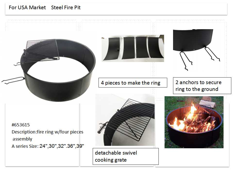 steel camping fire ring with BBQ grill