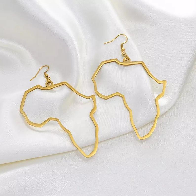 크리 에이 티브 골드 실버 아프리카 합금 귀걸이 패션 여성 보석 선물 도매 지도